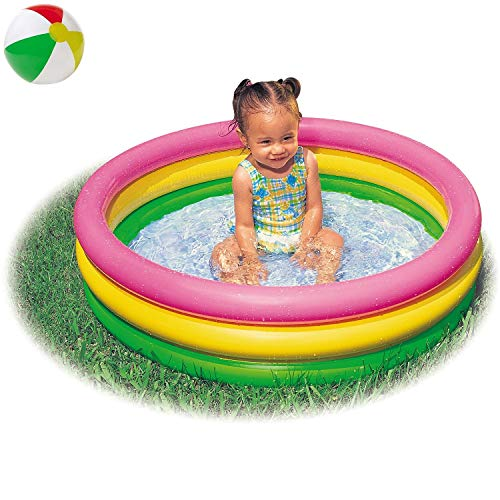 Aufstellpool Babypool Pool Planschbecken Babyplanschbecken Schwimmbecken Rund mit aufblasbarem Boden für Baby Babys Rund Bunt 3-Ring Terrasse Balkon Garten Größe ca. 147x33 cm