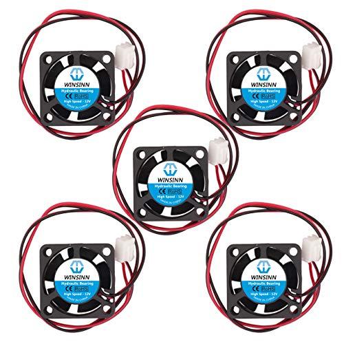 WINSINN Ventilador de 25 mm 12 V Rodamiento hidráulico sin escobillas 2510 25 x 10 mm para mini refrigeración PCB/notebook/tarjeta gráfica, alta velocidad (paquete de 5 unidades)