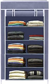 Asian Collapsible Wardrobe Armoire almari Closet Clothes Storage Rack 5 Shelves 5 Sides, Quick and Easy to Assemble, Grey