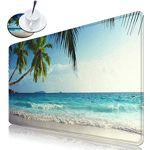 Dikoer Large Extended Gaming Keyboard Mouse Mat Desk Pad with Stitched Edges Mousepad XL 31.5' x 11.8' Non-Slip Rubber Base Sunny Beachs Writing Mat for Laptop Office Gamer Work Home & Coasters