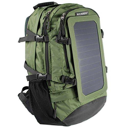 Solar-Rucksack, 7 W, Solarmodul, Aufladen für Handys und 5 V Geräte Stromversorgung, Grün ohne Batterie, Medium