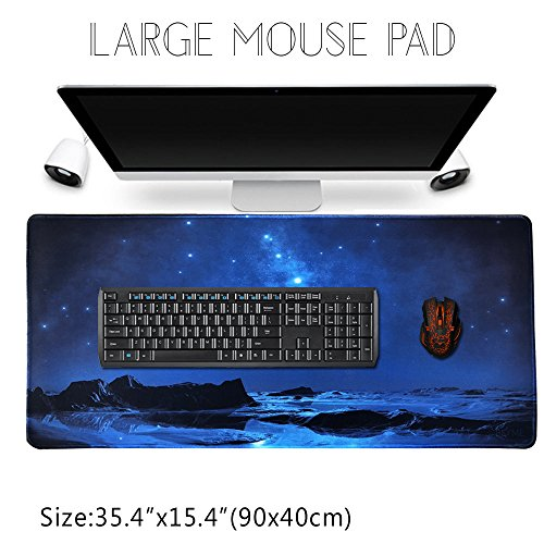 Beyme Gaming Mauspad XXL, Verlängertes Große Mouse Mat mit Wasserdicht Rutschfeste für PC, Computer und Laptop- 900 x 400 x 2 mm (90x40 Sky Blue001)