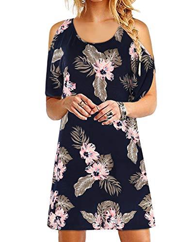 YOINS Vestito Donna Manica Lunga Abiti Invernali Eleganti Abito Mini Maglietta T-Shirt con Scollo Rotondo Sciolto Vestiti Donna da Cocktail Floreale EU32-34