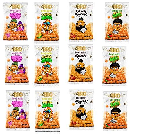 12 Tüten a 75g 4Bro Broji Balls ( 4 Sorten Mix) Bubble Gum / Salsa / Sucuk /Cheese Jalapeno 75g Maisbällchen