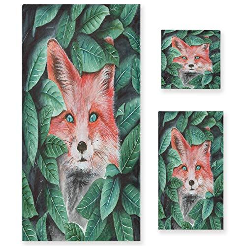 Naanle Juego de 3 toallas de baño Forest Hidden Fox para baño de algodón altamente absorbente, toalla de baño grande+toalla de mano+toalla, paquete de 3 toallas de suavidad para decoración
