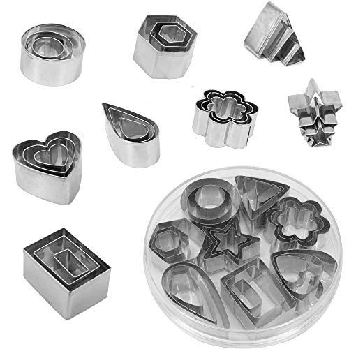 Cookie Cutters Set, 24 Pieces Mini Biscuit Cutters Stainless Steel Fondant DIY Baking Pastry Cutters