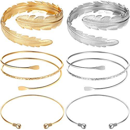Yaomiao 6 Stücke Arm Armreif Set Einstellbare Oberarmmanschette Set Minimalistischen Arm Armbänder Metall Punk Spiralarm Armband Swirl Faux Blattfeder Armreif für Damen