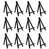U.S. Art Supply 6' Mini Black Plastic Display Easel (Pack of 6), A-Frame Artist Painting Party Tripod Easel - Tabletop Holder Stand for Small Canvases, Kids Crafts, Business Cards, Signs, Photos, Gift
