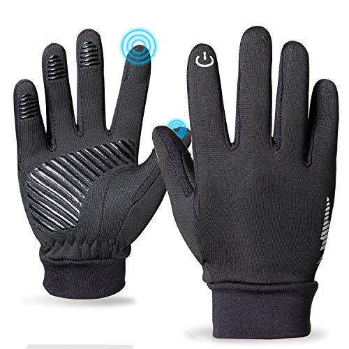 PERSIST Kids Winter Gloves for Boys and Girls,Kids Cycling Gloves Black Running Touchscreen Sports Bike Gloves Kids Warm Gloves for Children 5-13 Years (S, BLACK)
