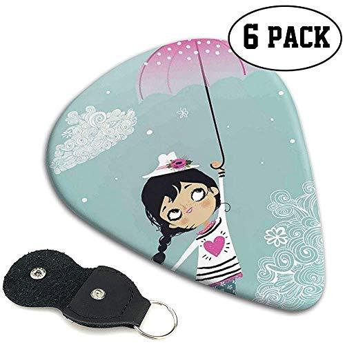 Gitaar Picks 6 pcs, Vliegende Meisje Met Een Roze Paraplu En Een Bloemen Hoed Doodle Stijl Krullend Cloud Motieven