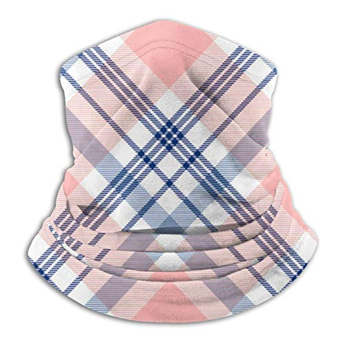 IZOU Plaid check pattern in navy blue pink and white vector Neck Gaiter Face Mask,Multifunction for Man Women seasons Magic Scarf Bandana Balaclava