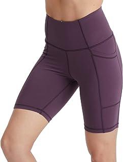 "Hopgo Women's 7"" Bike Shorts High Waist Workout Yoga Shorts Tummy Control Running Shorts Side Pocket"