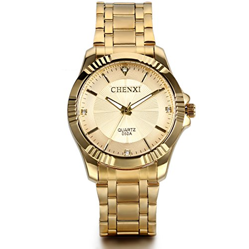 JewelryWe Birthday Gift Men's Gold Stainless Steel Watch with Golden Dial -...