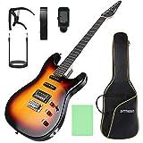 ammoon ST Guitarra Eléctrica de Tamaño Completo, Kit de Guitarra Eléctrica, para Principiantes, Con Afinador, Cejilla, Correa, Funda de Guitarra y Cable de Guitarra etc. (Sunburst)