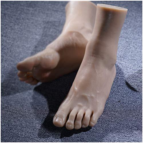 WJH Silikon Füße Modell - Simulation der männlichen Fuß - Schuh-Socken-Anzeige Art Skizze Nail Medical Malerei Pediküre Unterricht Schöne Beine,Left Foot