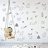 Wall Vinyl Grey Forest Animal Decal 36 pcs. Nursery Decor, Original Artist Design. Adhesive Animals Sticker for Kids. Baby Nordic Fox, Bear, Moose, Birds, Squirrel, Pine, Leaf Bedroom Decoration.