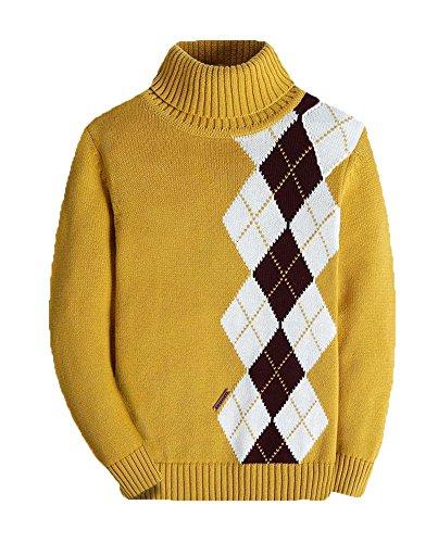 Boys Long Sleeve Sweater Turtleneck Pullover Argyle Uniform Plaid Kids Clothes Yellow