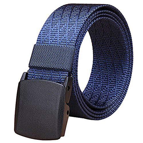 Fairwin Cinturón de Malla Táctico para Hombres, Cinturón de Nylon con Hebilla de Plástico YKK de Lona