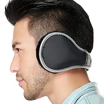 Ear Warmers Waterproof Unisex Adjustable Fleece Earmuffs for Men Women Winter Ear Muffs with Reflective Stripe  Black