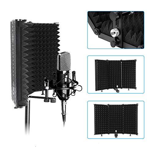 Winbang Schallschutz, Akustische Raumbehandlung Absorbierender Schaumstoff mit Hoher Dichte Faltbarer Mikrofonisolationsschutz für das Professionelle und Heimstudio