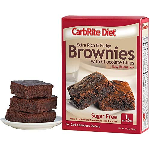 Doctor's CarbRite Diet Sugar Free Brownie Mix - Low Carb Baking and Desserts - For Keto and Low Sugar Diets - Protein and High Fiber - Chocolate Chip Brownie, 11.5 Oz
