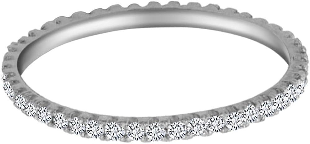 AFFY White Natural Diamond Eternity Stackable Wedding Anniversary Ring 925 & 10K, 14K White Gold (0.20 Cttw)