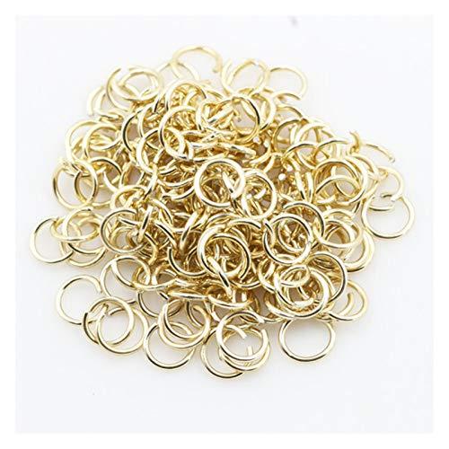 300 anillos abiertos de un solo lazo de acero inoxidable de 6 mm para accesorios de joyería, para hacer bricolaje, para mujer, para manicura y manicura (color amarillo fluorescente)