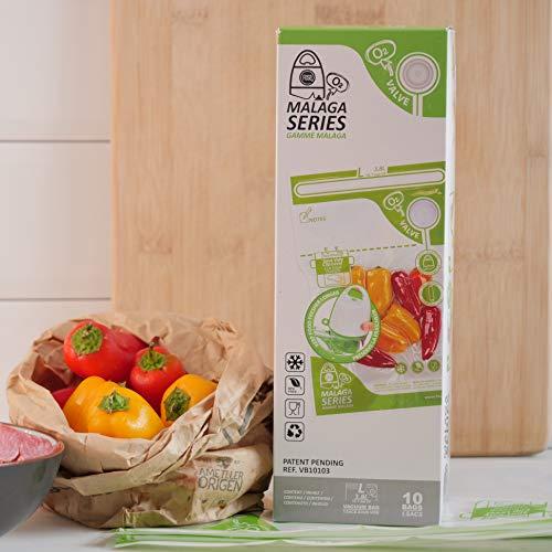 FOSA Bolsas para Sistema de envasado al vacío doméstico e inalámbrico Conserva Cualquier alimento más Tiempo – Reutilizables, Ideales para congelar y cocción al vacío (10 Bolsas L (3,8 l))