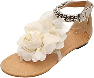 Sharemen Summer Women's Sandals Bohemian Flowers Flat Shoes Belt Buckle Clip Toe Sandals