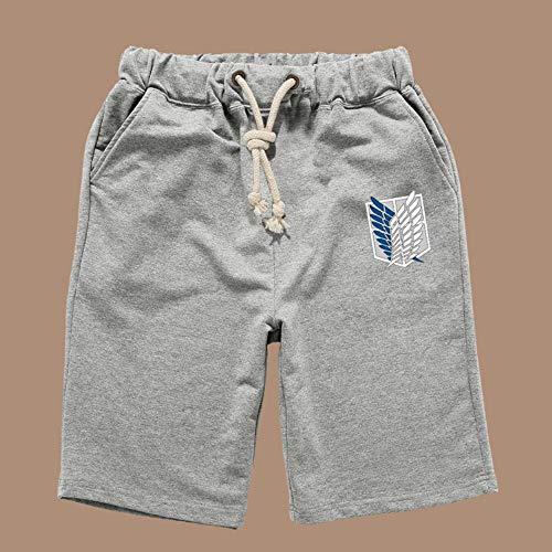 Boyyu Attack On Titan Anime Shorts Kurze Hose Hosen Jogging Herren Kurz Sport Sommer Sport Baumwolle Pants Short Men Mit Taschen XL Grau