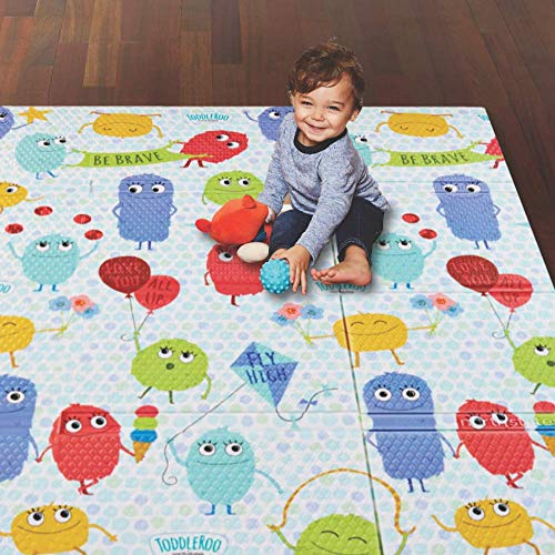 Toddleroo by North States 71' x 71' Toddleroo Friends Play Mat - Designed to fit 6 Panel or 8 Panel Superyards. Almost 36 Square feet of Play Space (Toddleroo Characters, Multicolored)