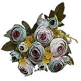 YTHX Flor Artificial 10 Cabezas / 1 Paquete De Té De Seda Rosa Ramo De Novia Navidad Hogar Boda Año Nuevo Decoración Flores ArtificialesGris Azul