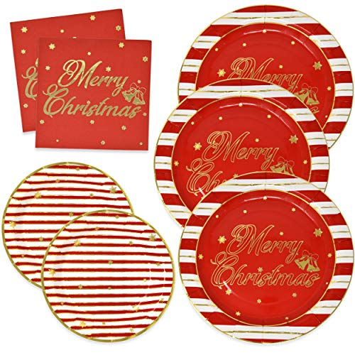 Elegant Christmas Paper Plates and Napkins for 50 Guests in Gold Foil and Red includes 50 9' Dinner Plates 50 7' Dessert Plates and 100 Luncheon Napkins for Holiday Party Disposable Dinnerware Set