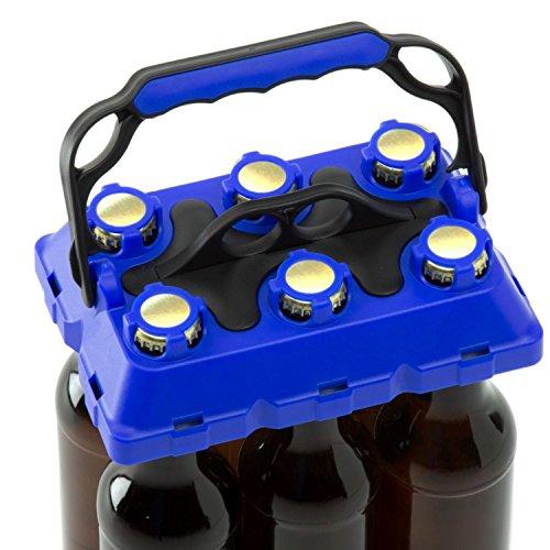 CLICK-IT BOB The Bottle Buddy Flaschenträger I Trage-Hilfe für bis zu 6 Bier-Flaschen I cooles & praktisches Gadget für Deine Party - für 0,33 l Glas-Flaschen I Bottle Carrier (dunkelblau/schwarz)