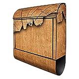 Banjado Design Briefkasten mit Motiv Holz | Stahl pulverbeschichtet mit Zeitungsrolle | Größe 39x47x14cm, 2 Schlüssel, A4 Einwurf, inkl. Montagematerial