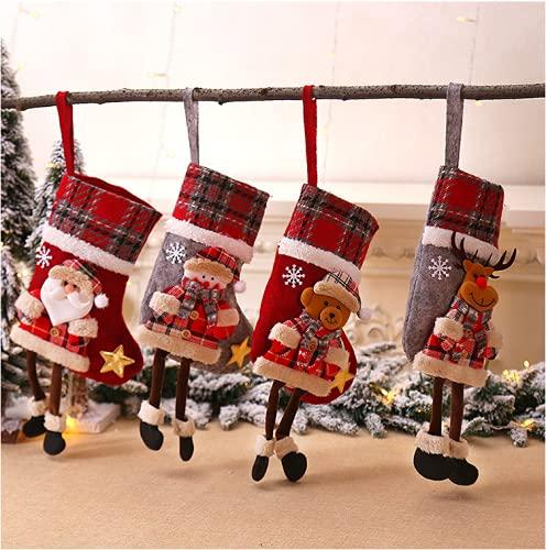 Calcetines de Navidad 4 Piezas, Calcetines Navidad Chimenea Personalizados, Medias de Navidad Grande 34 * 18cm Calcetines de Decoración Navideña Tridimensionales, Calcetín de Navidad Bolsa de Regalo