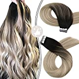 Tape in Hair Extensions, Moresoo Human Hair Extensions Tape in Seamless Hair Extensions 20 Inch Color #1B Off Black Mixed #18 Ash Blonde with #60 Blonde Straight Extensions Tape Ins 50G/20Pcs Per Pack