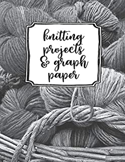 Knitting Projects And Graph Paper: A Cute Basket Of Yarn Knitting Project & 4:5 Graph Paper Organizer and Notebook. Portable 8.5x11