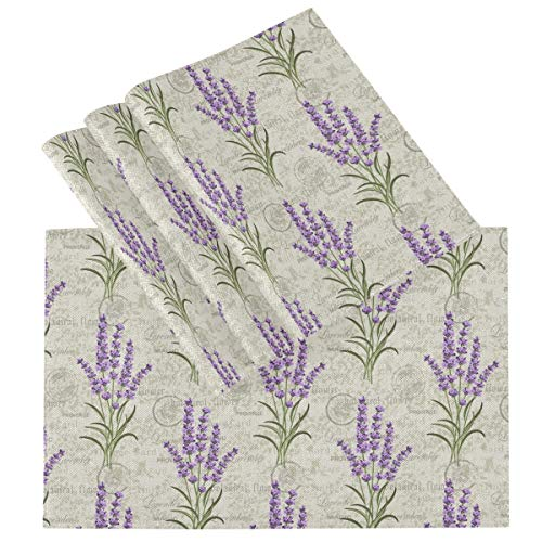 Pfrewn Floral Lavenders Vintage Placemats Set of 6 Table Mat Flowers Daisy Place Mat Double-Sided Print 12' x 18' Dining Home Kitchen Table Decoration