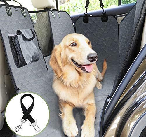 Pecute Funda Perros Coche, Funda de Asiento para Perros Impermeable y Resistente, Protector Coche Perros con Rejilla Flexible Pasar Aire, Universal para SUV, Camión, Transportar y Viaje (Gris)