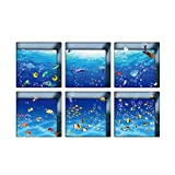 6 Unids 3D Pegatinas de bañera Antideslizante Impermeable extraíble calcomanías de bañera calcomanías de Pared para baño WC (13x13cm)