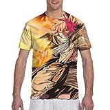 Stylish Fairy Tail Natsu Dragneel Scarf Anime Men's T Shirt,Men's Short Sleeve T-Shirt,Cotton Fabric T-ShirtsforMen,Teens Top