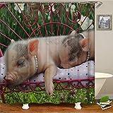 floolter Niedlicher Cartoon Schwein Duschvorhang Wasserdichter Stoff Hochwertiger Badezimmer Duschvorhang Wohnkultur 180 × 180 cm