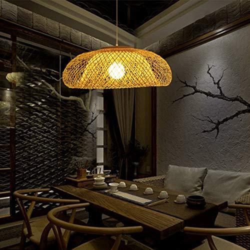 Creatieve natuurlijke bamboe en rotan hangende plafondlamp, hanglamp bamboe handgeweven cirkelluchter creatieve persoonlijkheid hangende lampen met E27-stekker