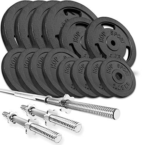 Hop-Sport Cast Iron Barbell Set 39kg/59 kg/79kg-Weight Plates with Straight Barbell Bar 167cm+ 2 Straight Barbell Bars 40cm –Iron Weights for Men/Women–Home Gym Equipment for Bodybuilding, Weight Loss