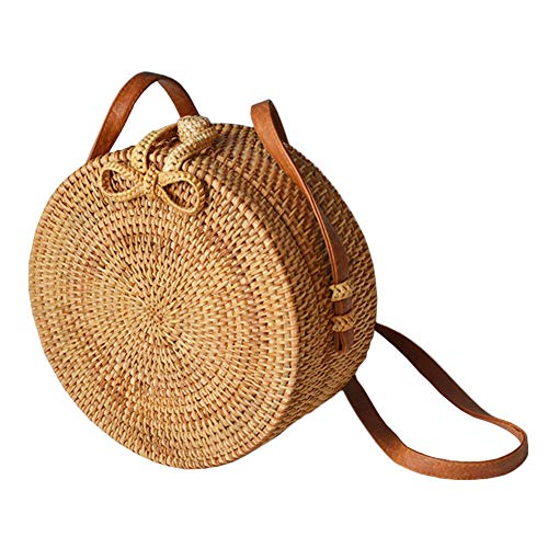Miyanuby Women Handwoven Wicker Weave Bag Messenger Bag Round Rattan Bag Shoulder Leather Straps Natural Chic Handbag Beach Bag Handmade Gifts