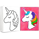 4 PACK 8x10 Pre Drawn Stretched Canvas Painting for Kids | Custom Unicorn Rainbow Theme | Birthday Gift | Virtual Paint Party Favor | DIY Art