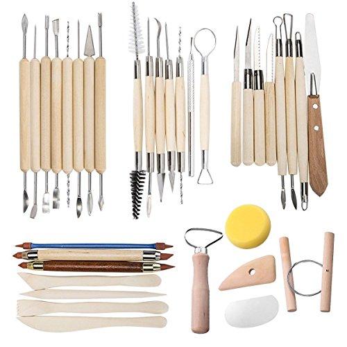 TooTaci35 PCS Herramientas de Arcilla Conjunto de herramientas para tallar cerámica - Incluye moldeadores de color de arcilla, herramientas de modelado y cuchillo de escultura de madera
