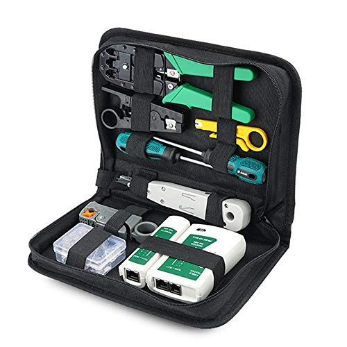 Jcevium Kit di attrezzi per la riparazione di cavi di rete Set Rj45 Rj11 Cat6 Tester Crimper Crimping Set di attrezzi per manutenzione