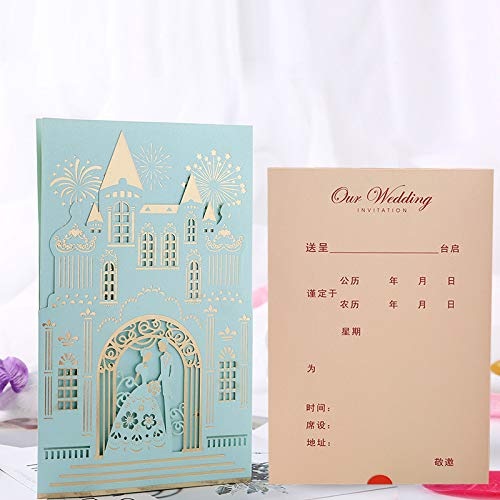 XLYAN Einladungskarten Hochzeit Schloss Romantische Einladung Verlobungskarte Laserschneiden Hochzeitskarten,Leeres Papier,Set 50,Blue